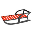 winter sled on white background vector image vector image