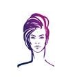women short hair style icon logo women face on vector image