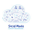 hand drawn social media networking doodle sketch vector image