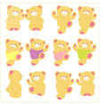 teddy bear in different pose background vector image