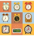 Alarm clock flat icons vector image vector image