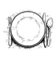 artistic or drawing of empty plate knife and fork vector image