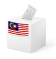 Ballot box with voting paper Malaysia vector image vector image
