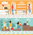 banners of supermarket people male and female vector image