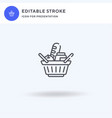 basket icon filled flat sign solid vector image vector image