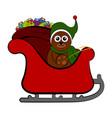 bear on a christmas sledge vector image vector image