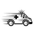 black ambulance icon vector image