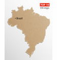 brazil map on craft paper texture template vector image vector image