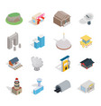 building icon set isometric style vector image