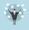 businessman throws paper concept of success vector image