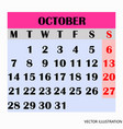 calendar design month october 2019 vector image vector image