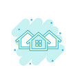 cartoon colored house icon in comic style home vector image