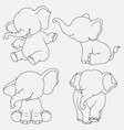 cartoon elephant thin lines with different poses a vector image