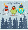christmas card with birds on wire vector image vector image