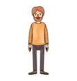 color crayon stripe cartoon full body man bearded vector image vector image