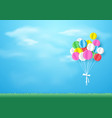 colorful balloons flying over grass paper art and vector image vector image