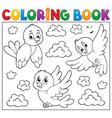 coloring book happy birds theme 2 vector image vector image