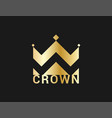 crown icon gold crown on black background vector image