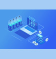 crypto currency mining farm server data center vector image