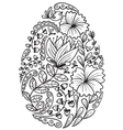 cute doodle floral easter egg vector image