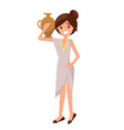 cute girl in dress with pottery vase on shoulder vector image