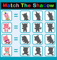 find the correct shadow of the hippo vector image vector image