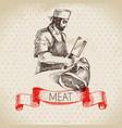 hand drawn sketch bucher vintage meatman menu vector image vector image