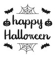 happy halloween handwritten greeting black on vector image