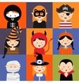 Happy Halloween Set of cute cartoon children in vector image vector image
