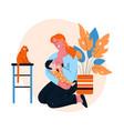 happy mother breastfeeding her baat home vector image