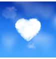 heart cloud in a blue sky vector image vector image
