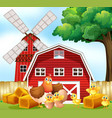 hen and chicks on the farm vector image vector image