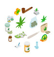 medical marijuana icons vector image vector image