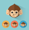 monkey portrait with flat design vector image