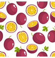 pattern with cartoon passion fruits vector image vector image