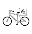 pizza bycicle silhouette vector image vector image
