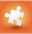 puzzle piece on orange background vector image