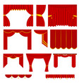 realistic detailed 3d red silk or velvet curtains vector image