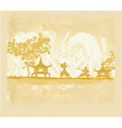 Samurai silhouette in abstract Asian Landscape vector image vector image