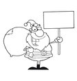 Santa with sign cartoon vector image vector image