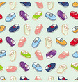 seamless pattern of little girl dresses and shoes vector image