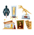 set cartoon pictures of museum with exhibit pod vector image vector image