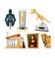 set cartoon pictures of museum with exhibit pod vector image