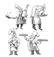 set chefs line drawings baker chef vector image vector image