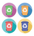 set colorful flat recycling wheelie bin icons vector image