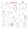 set hand drawn wedding icons vector image vector image