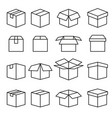set of abstract box line icons editable stroke vector image
