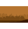 Silhouette of the city in the desert vector image vector image