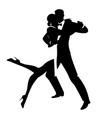 silhouettes elegant couple dancing romantic vector image vector image