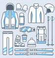 ski icons set mountain skiing gear and vector image